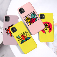 Graffiti Keith Haring Phone Cover for iPhone X Xr Xs Max Soft Silicone TPU Coque case for iphone SE 2020 8 7 6S Plus 11 pro max silicone phone case for iphone 8 7 6 6s plus x xr xs max soft tpu van gogh starry night cover for apple iphone 11 pro max coque