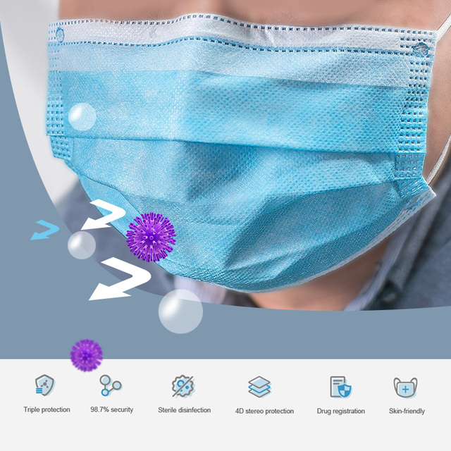 In stock!Fast Delivery!Disposable Face Mask High Quality Non Woven 3 Layer Anti-Dust Face Mouth Masks Meltblown Cloth Mouth Mask 4