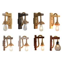 E27 American Style Pastoral Hemp Rope Wall Lamp Vintage Wooden Wall Light for Restaurant Coffee Shop Decor(Without Bulb)