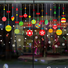 2019 Merry Christmas Wall Sticker Household Room Glass Ball Ornament Wall Sticker Mural Decor Decal Removable WallStickers Decal(China)