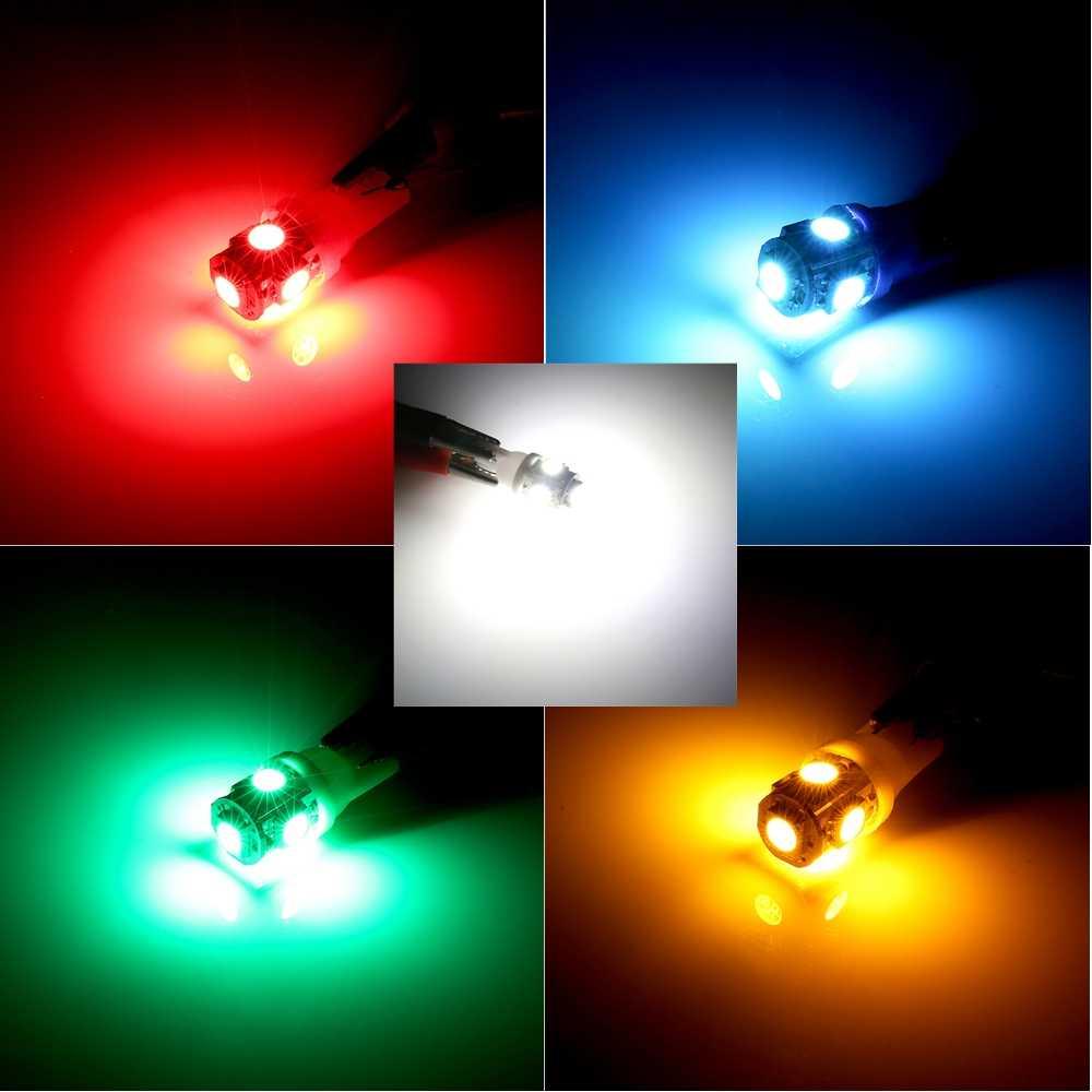10 pièces T10 5SMD LED ampoule 168 194 W5W voiture lumières 5050 SMD Auto lampe DC 12V voiture intérieur lumières lecture Parking ampoule voiture style