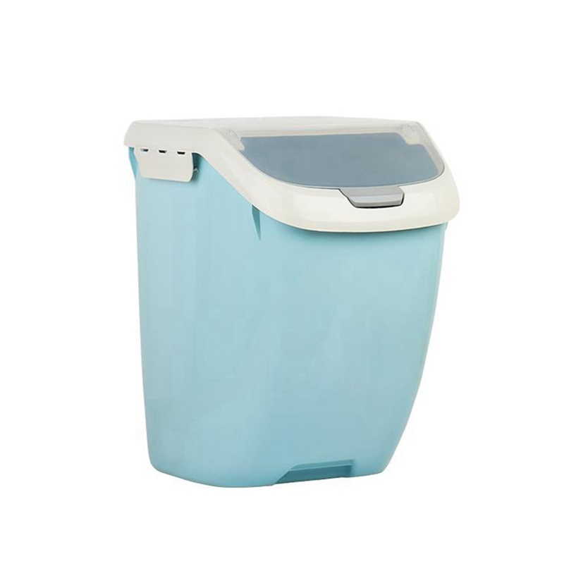 15Kg Rice Storage Box Sealed Moisture-Proof Large Capacity Grain Flour Container Kitchen Rice Storage Box Flip Cover Blue-L