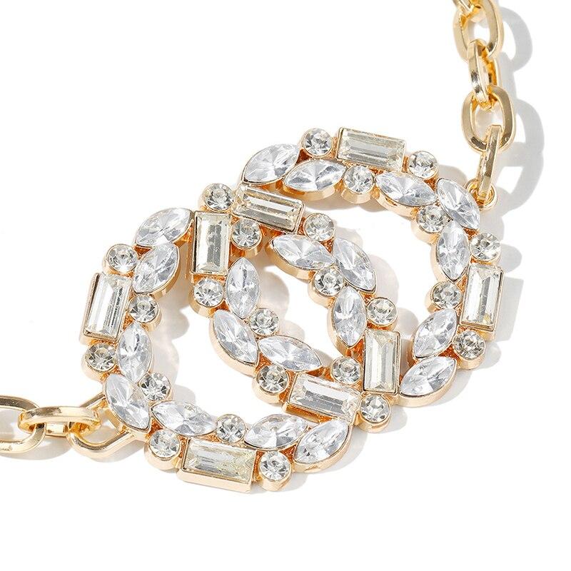Women Fashion Water Diamond Metal Adjustable Waist Chain Belt Elegant Flash diamond 105cm Waist Chain Women Dress Belt  2021 New 2