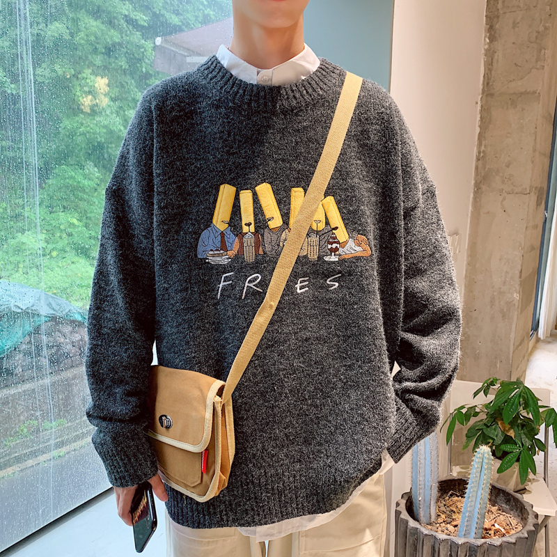 2020 New Men's Casual Loose Fashion Embroidery Harajuku Japanese Style Sweater Clothes Homme Masculina Hombre Smart Cotton