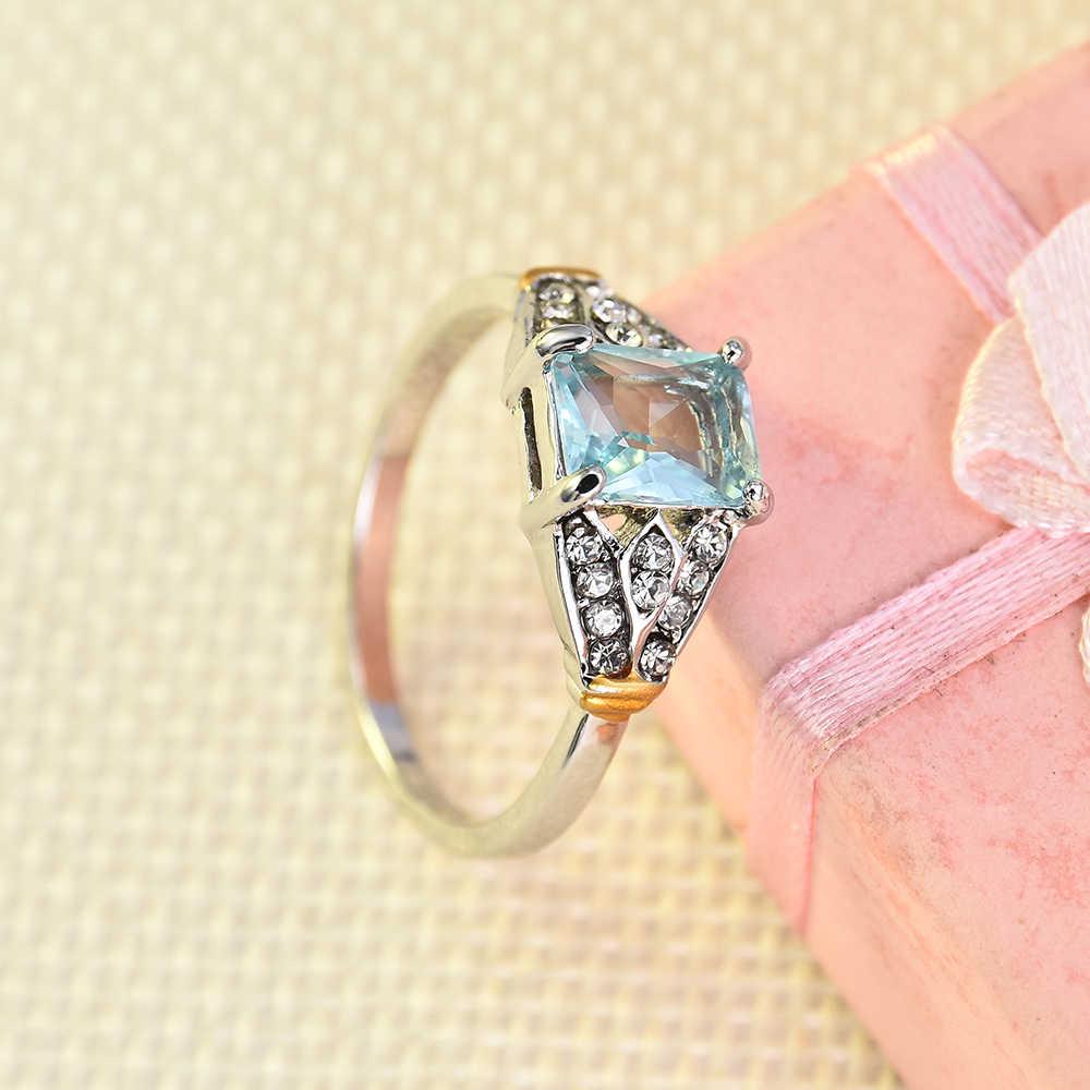 Anillo de diamantes de imitación para mujer anillo de plata azul agua anillo de boda joyería promesa anillos de compromiso para mujeres anillos de boda 2019
