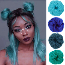 XUANGUANG Synthetic Elastic Hair Scrunchie Chignon Donut Roller Bun Wig Curly Clip in Hair Ponytails Extensions Many colors