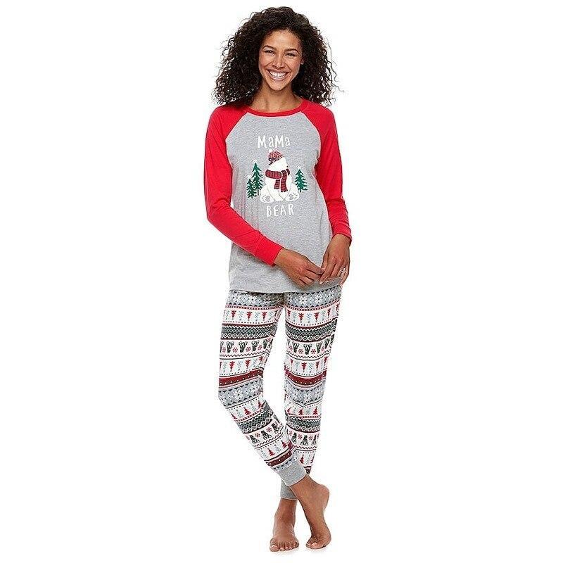 QWEEK Christmas Couple Pyjamas 2 Pcs 2019 Winter Long Sleeve Lounge Pajamas Women Plus Size Cotton Warm Sleepwear Women Pijamas