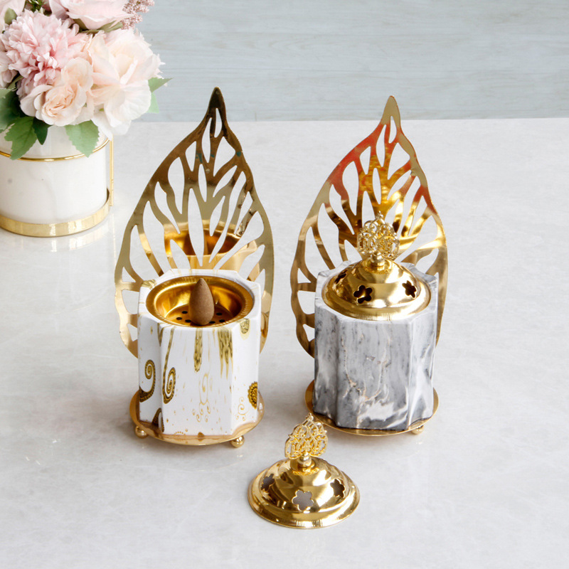 Alloy ceramic scented stove creative scented stove essential oil lamp candle holder Ramadan home decoration image