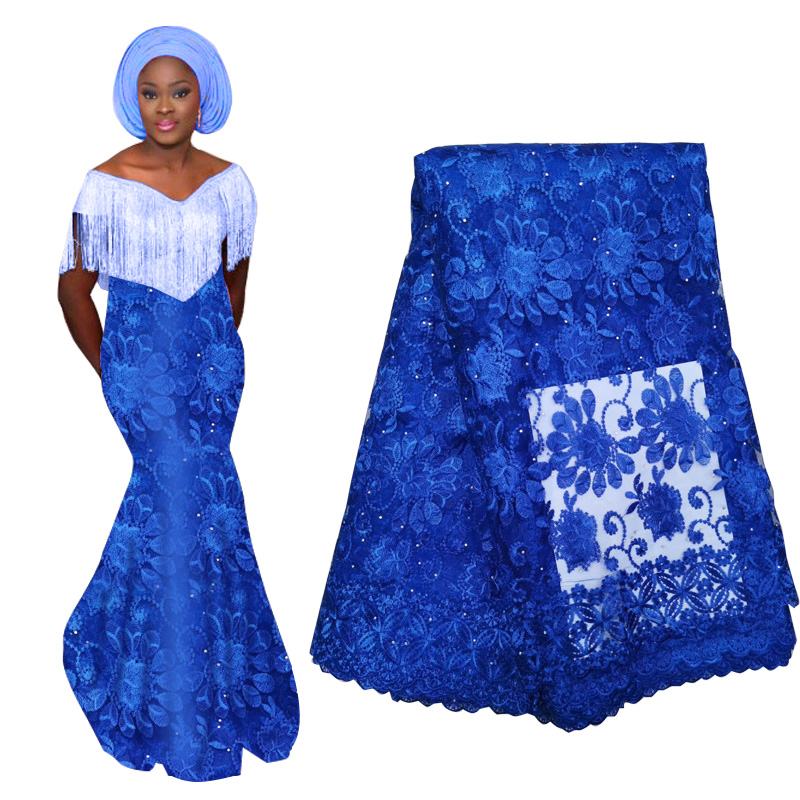 Best Selling Royal Blue African Lace Fabric With Beads High Quality French Nigerian Tulle Lace Fabric For Wedding 2019
