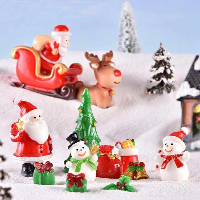 Dollhouse Miniature Christmas Tree Snowman Gift Box Decor Ornament Sleigh Micro Landscape Snow Scene Christmas Decor for home