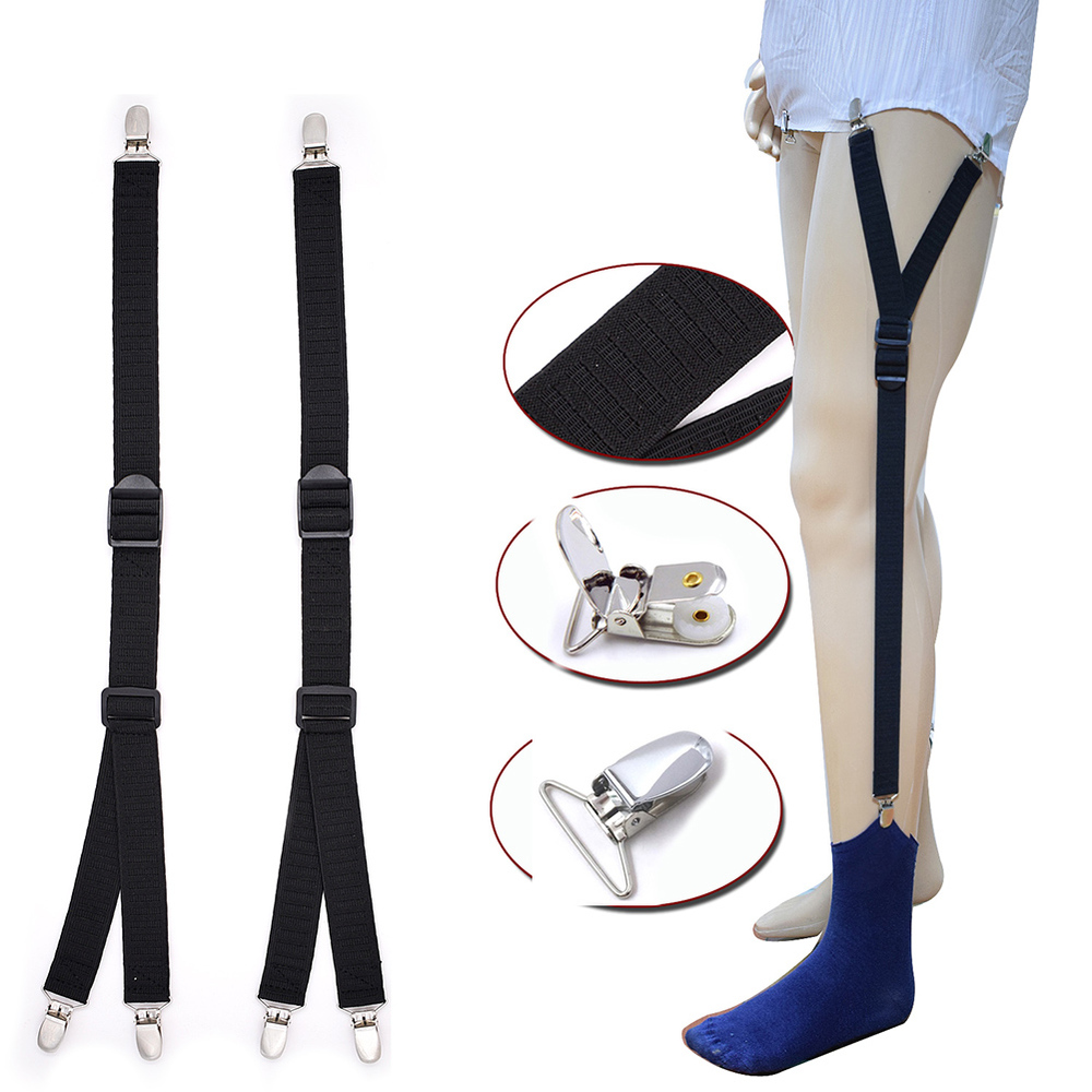 2 Pcs Men Shirt Wrinkle-proof Garter Clips Garter Belt Y-shaped Double Socks Garter Leg Elastic Straps