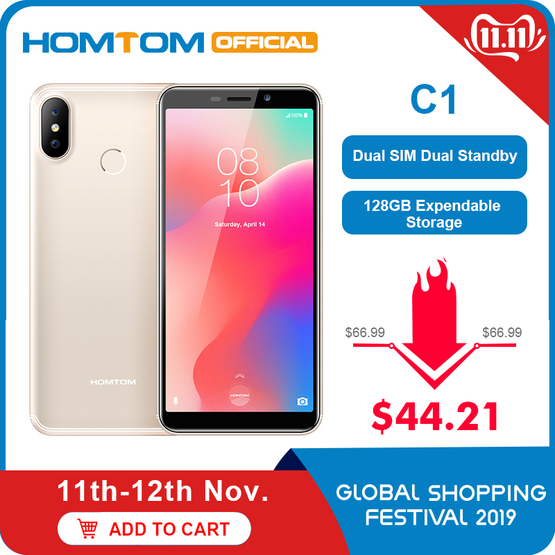 "Original Version HOMTOM C1 16G ROM 5.5""Mobile Phone 13MP Camera Fingerprint 18:9 Display Android 8.1 MT6580A Unlock Smartphone"