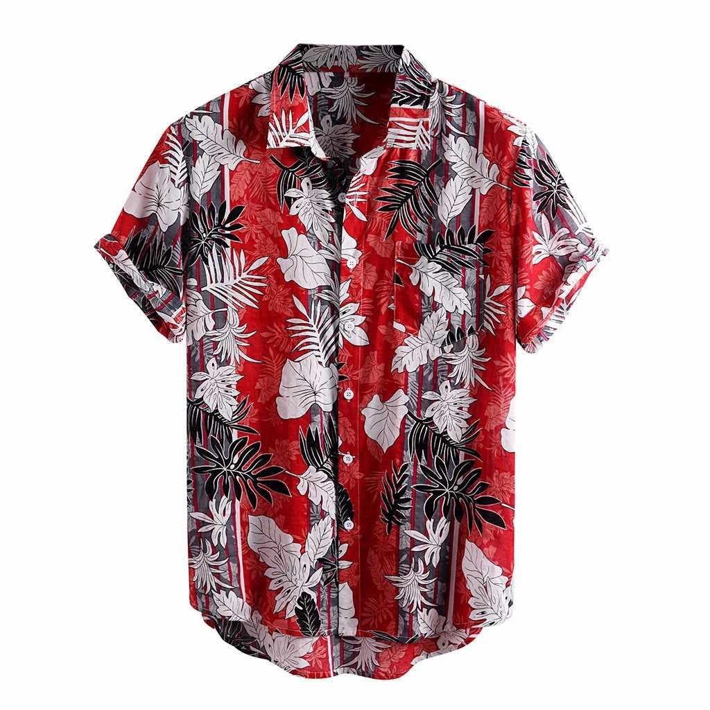 Mùa Hè Người Áo Sơ Mi Nam Dân Tộc In Hình Cổ Áo Đứng Vải Lanh Cotton Sọc Ngắn Tay Rời Hawaii Henley Áo Sơ Mi Hawaii Áo Sơ Mi