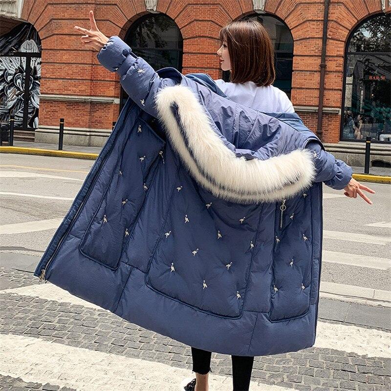 Female Winter Jackets And Long Coats 2019 Large Size Hooded   Parkas   Women Wadded Jacket Warm Outwear Big Faux Fur Collar JIU065