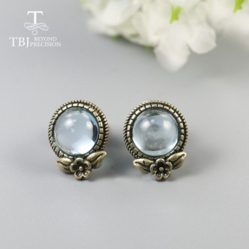 TBJ, Cute Topaz earring Round 8mm flower design fine jewelry 925 sterling silver for girls daughter nice gift birthday  party