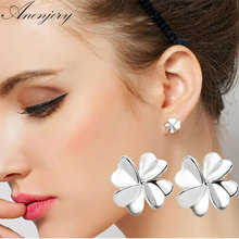 Fashion 925 Sterling Silver Good Luck Clover Stud Earrings For Women Gift pendientes oorbellen boucle d'oreille 100% 925 silver sterling 1 1 790572en25 good luck clover hanging silver original charm fashion jewelry