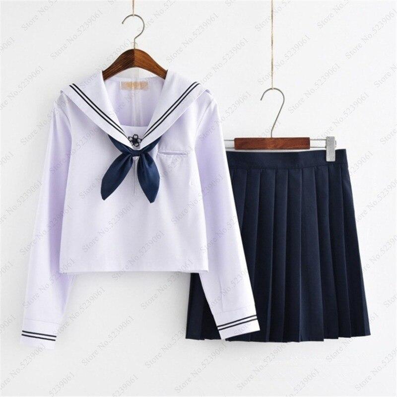Girl Short Skirt Japanese Style JK School Uniform Japan College Stage Dance Sailor Costume Pleated Anime Cosplay T-shirt Dresses