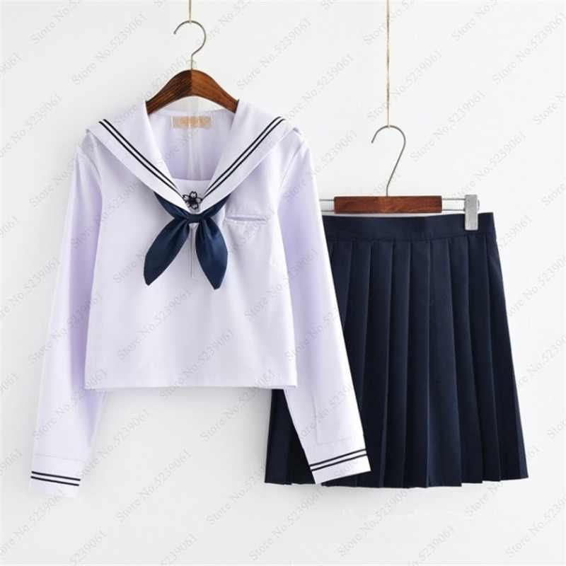 Menina de saia curta estilo japonês jk uniforme escolar japão faculdade palco dança marinheiro traje plissado anime cosplay camisa vestidos