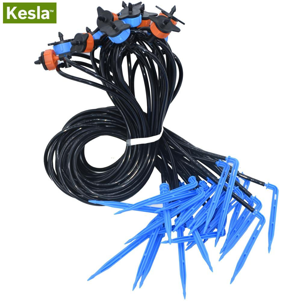 KESLA Drop Irrigation System For Bonsai Distribution Assembly & 2/4 Straight Elbow Arrow Dripper 2/4/8L/H Drip Emitter Garden