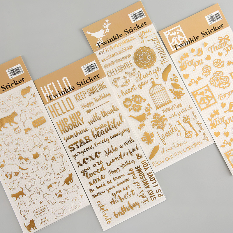 MIHIMIKI 4 Designs Gold Stamping PVC Material Stickers Scrapbooking Thank You Greeting Creative DIY Deco Stationery Stickers