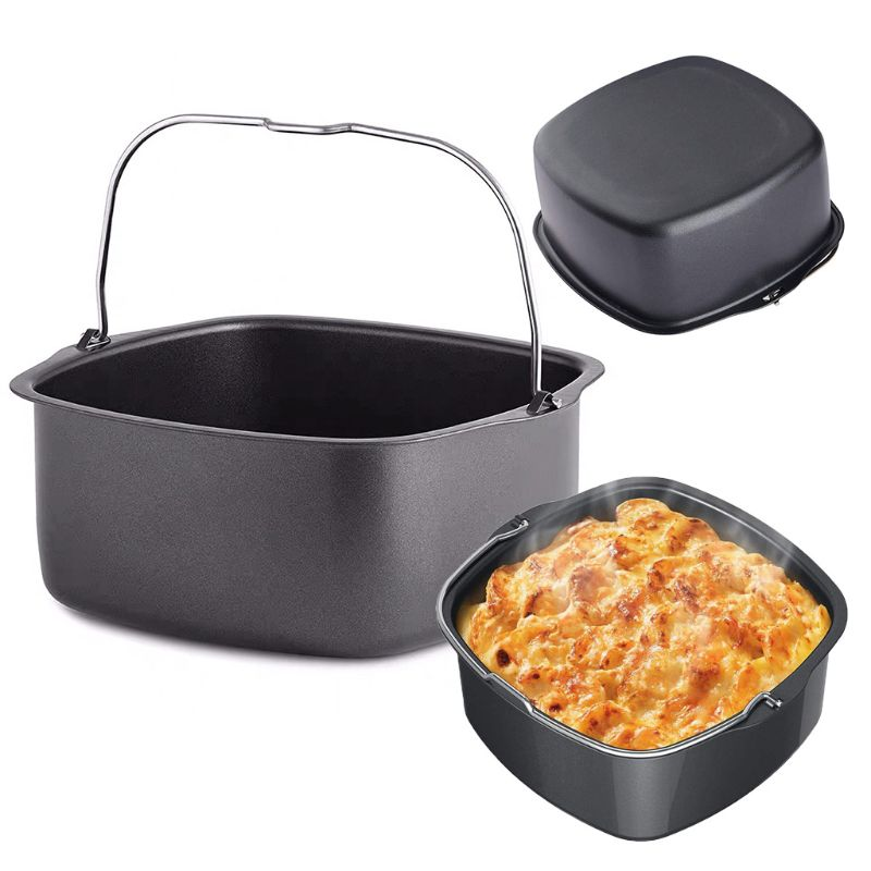 Square Non Stick Cake Mold Baking Tray Pan Roasting Basket Bakeware Mould Air Fryer Accessory
