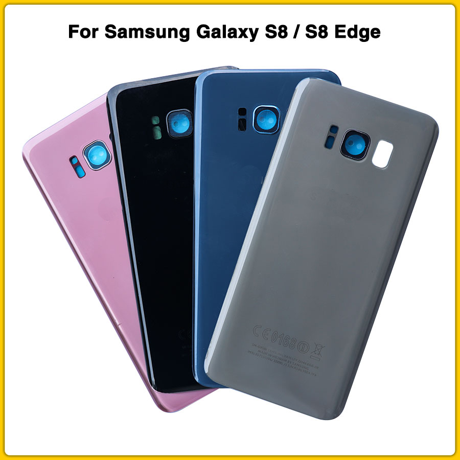 SAMSUNG Back Battery Cover with lens For Samsung Galaxy S8 G950 <font><b>SM</b></font>-<font><b>G950F</b></font> S8 Plus S8+ G955 <font><b>SM</b></font>-G955F G955FD Back Rear Glass Case image