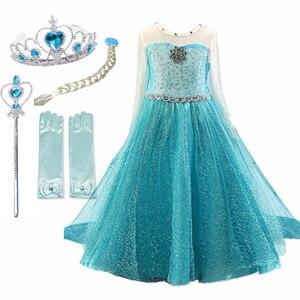 4-10T Girls Party Princess Dress dziewczynek lato elegancka, długa rękaw niebieskie sukienki Birthday Party Fantasy suknia balowa