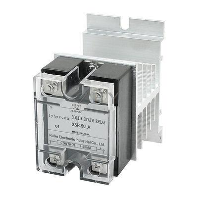 4-20mA to AC 28-280V 50A Aluminum Heat Sink Solid State Relay w Clear Cover