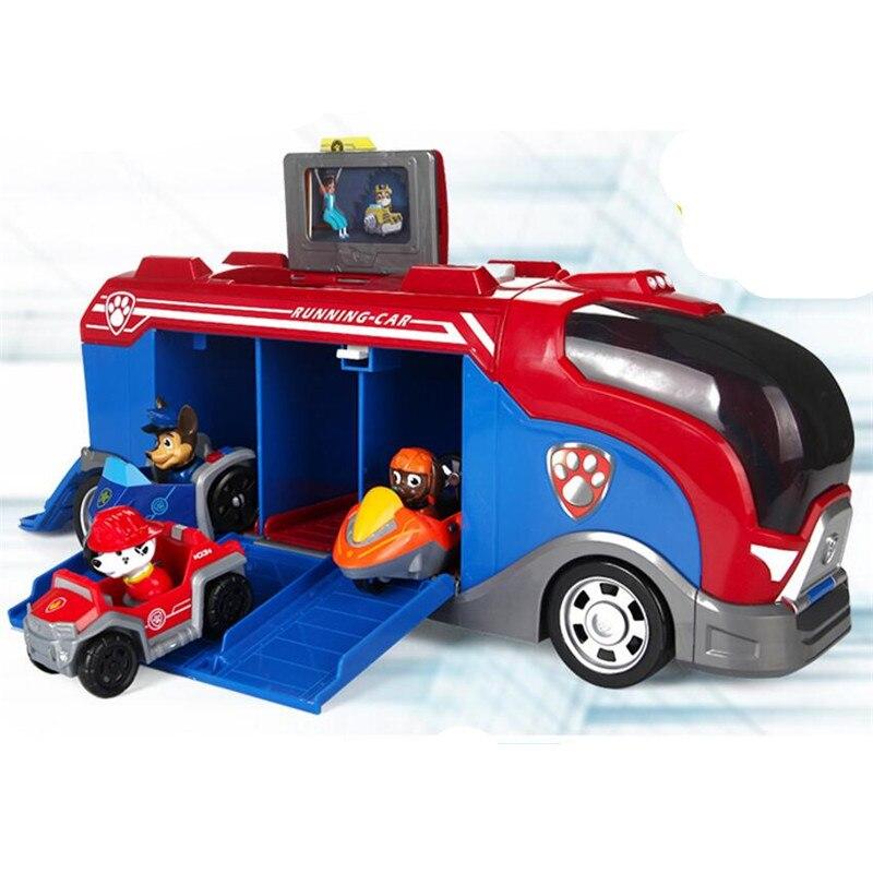 Paw Patrol Автомобильная смотровая башня с музыкальными фигурками Patrulla Canina Paw Patrol автобус игрушки для детей рождественские подарки D67 - Цвет: 4pcs no box