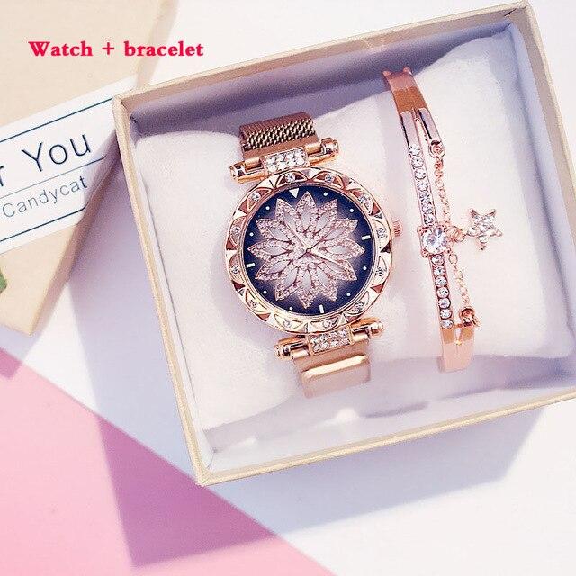 Women's Watch And Bracelet Set Starry Sky Women Watches Quartz Magnetic Band Ladies Diamond Decorative Watch Zegarek Damski
