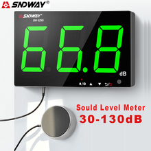 SNDWAY Sound Level Meter Decibel Meter With Green Light USB Charging Measuring Decibel Monitoring Noise dB Meter by Wall-Mounted ht 90a mini portable sound level meter with lcd screen display 30 130db instrumentation noise decibel monitoring testers