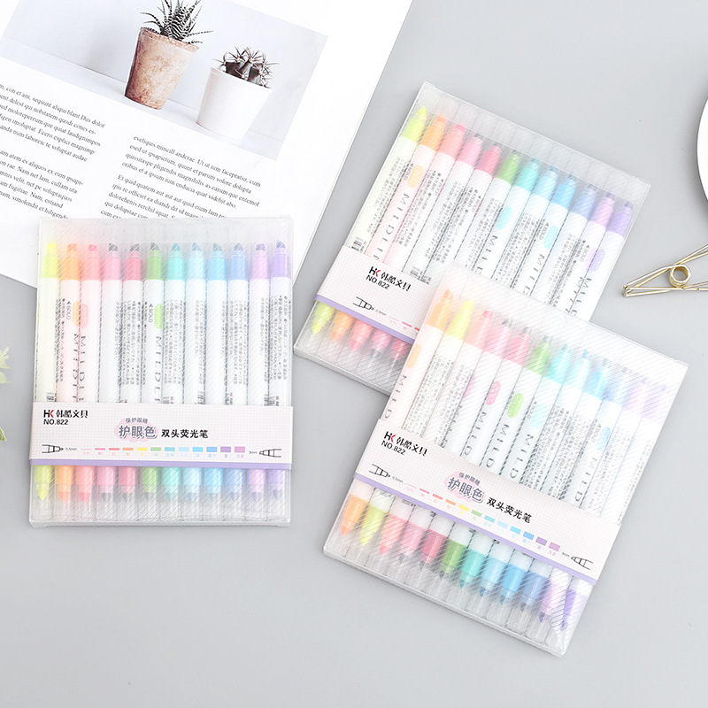 12 Colors/set Cute Mildliner Pens Highlighter Dual Double Headed Fluorescent Pen Art Drawing Marker Pen Stationery School Supply