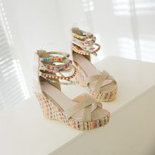 Oversized 12 wedges shoes for women sandals women shoes woman ladies summer Colorful beaded fish mouth braid belt(China)