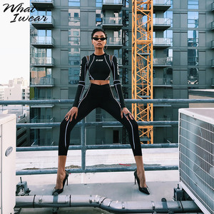Image 4 - Women Two Piece Set 2018 Tracksuit casual Fitness Fashion Slim Sexy High Waist  full sleeve full length o neck letter