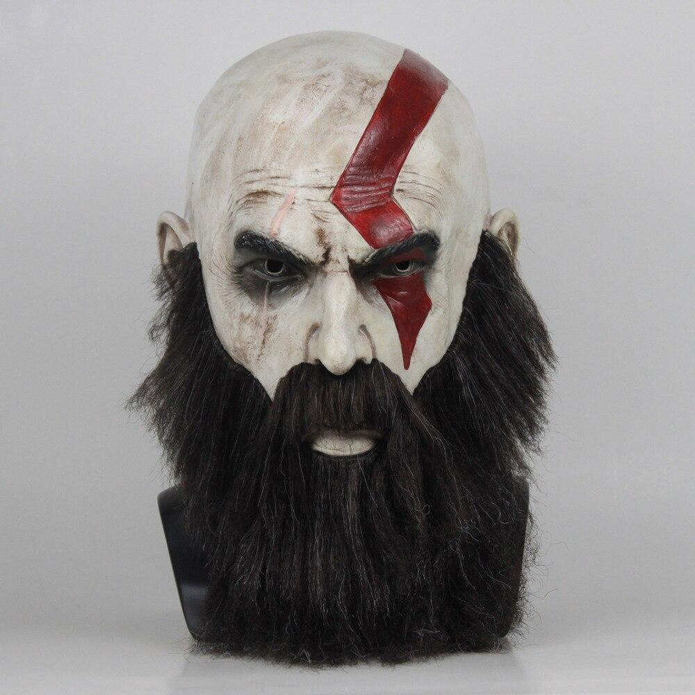 God of War 4 Halloween mask Kratos Cosplay Latex Mask Wig Beard Props