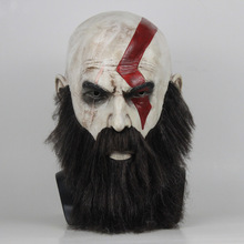 God of War 4 Halloween mask Kratos Cosplay Latex Mask Wig Beard Props