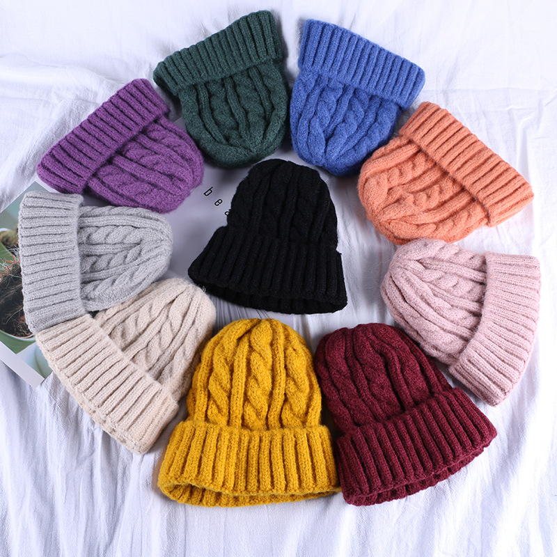 Hat Ladies Autumn And Winter New Candy Color Knitted Wool Hat Fashion Wild Warm Headgear
