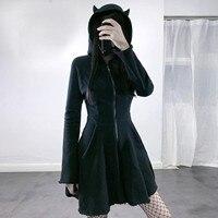Sudadera con capucha de estilo gótico Punk para mujer, vestido bonito de Oreja de Gato con capucha de Color negro liso, chaquetas de Jersey de corte A, ropa de calle para fiesta