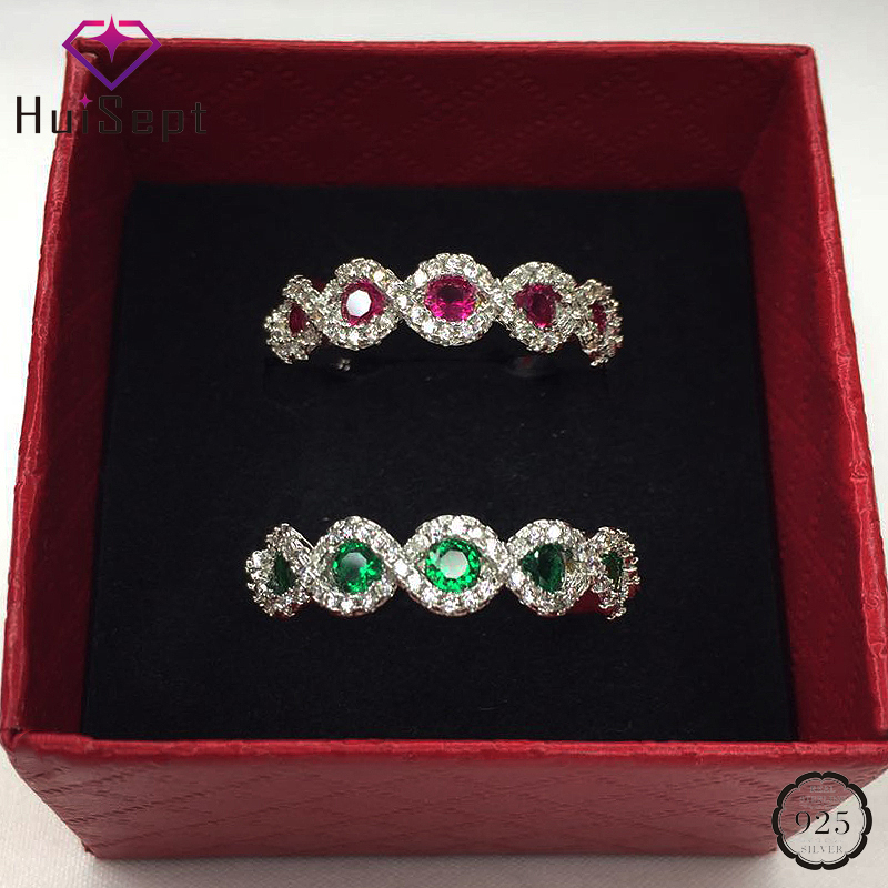HuiSept Fashion Silver 925 Ring Jewellery Ruby Emerald Gemstones Zircon Female Rings for Wedding Party Gifts Ornaments Wholesale