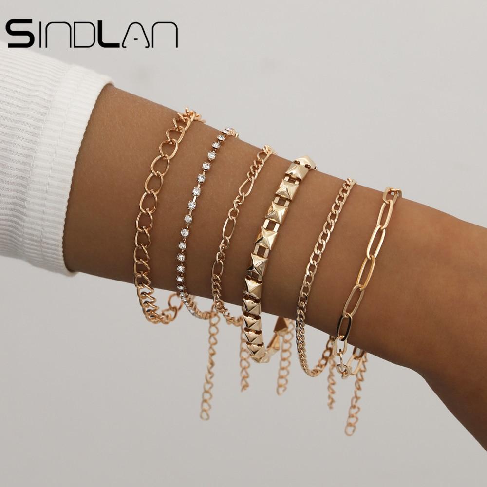 Геометрические простые золотые, 6 шт., Парные браслеты комплект ювелирных изделий для женщин браслеты с подвесками удобная застёжка с цельн...
