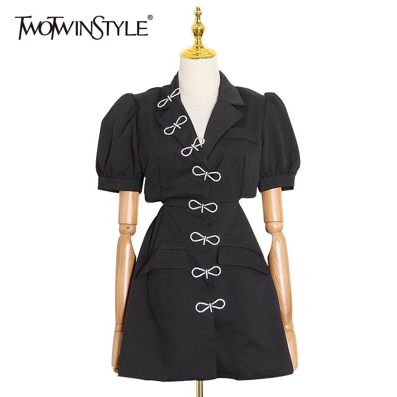 TWOTWINSTYLE Asymmetrical Women Summer Dress Notched Neck Puff Short Sleeve High Waist Mini Patchwork Bownot Dresses Female Tide