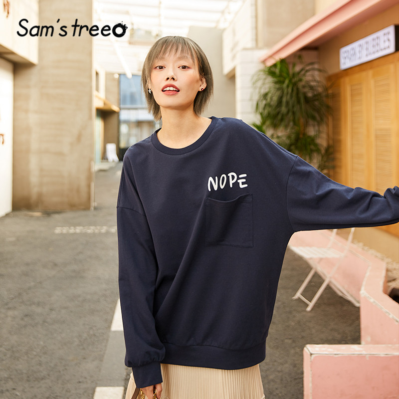 SAM'S TREE Multicolor Letter Print Pullover Casual Sweatshirts Women 2020 Spring Pure Pocket Korean Long Sleeve Ladies Daily Top