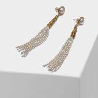 Tassel design fashion natural pearl drop earrings