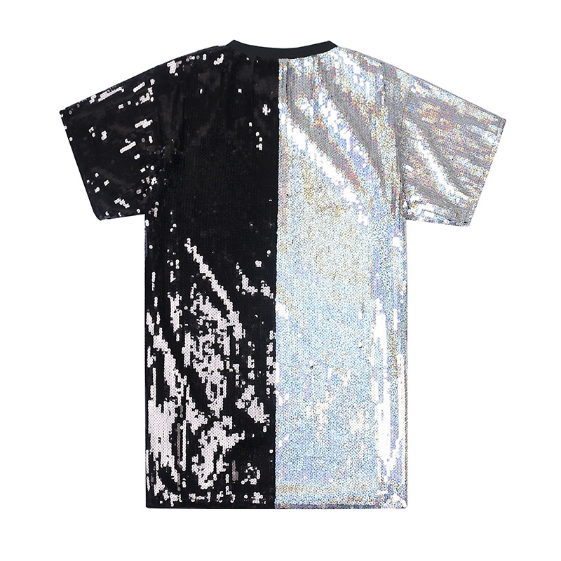 Cross Border For 2019 Spring And Summer New Style Crew Neck Loose-Fit Hiphop Sequin Fabric Short Sleeve Mid-length T-shirt Women