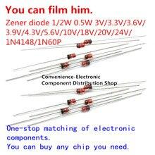 50 unidades/pacote diodo de zener de encaixe 0.5w 1/2w do-41 10v0 10v