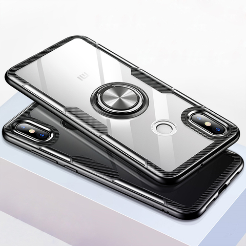 Transparent Silicone Case For Xiaomi Mi 9 8 SE Lite Shockproof Armor Metal Ring Holder Stand Back Covers Xiaomi Mi8 Cases Mi9 On Pakistan