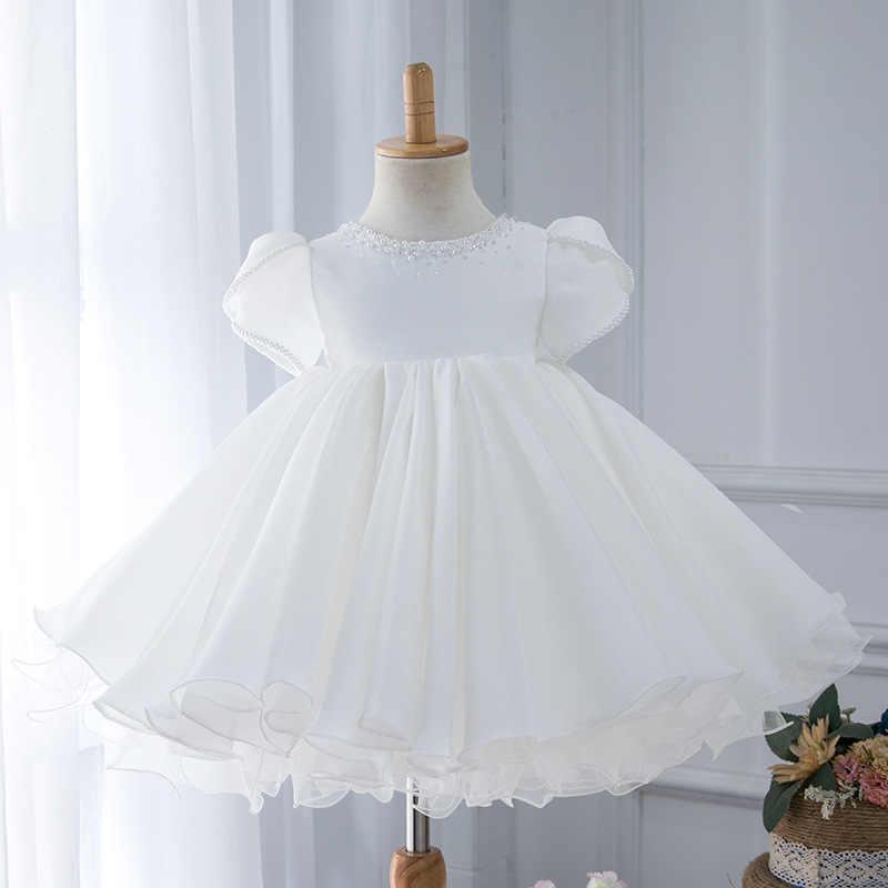 白チュチュドレスのため子供服結婚式のイベント誕生日パーティー衣装子供服