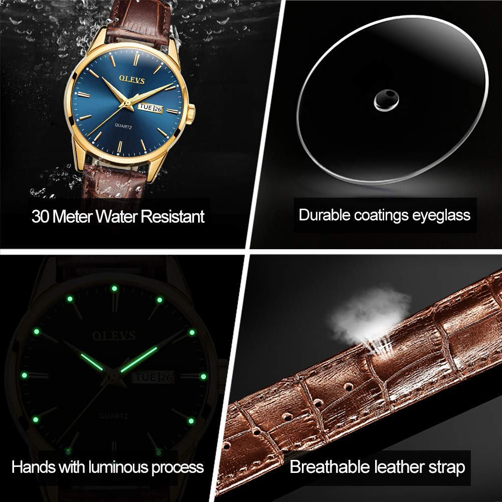 OLEVS Men Watche Top Brand Luxury Fashion Bussness Breathable Leather Luminous Hand Quartz Wristwatch Gifts for Male