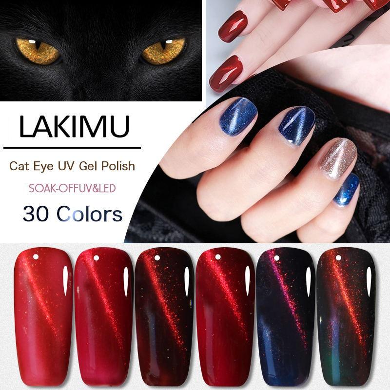 Lakimu Cat's Eye Gel Nail Polish Enamel Semi Permanent Gel Lacquer Uv Hybrid Gel Varnishes Nail Art Manicure Need Magnet Stick