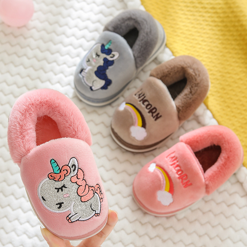 Kids Unicorn Slippers Girls Winter Warm Fur Slippers Toddler Boys Cotton Home Shoes Children Cartoon Bedroom Slipper Pantuflas